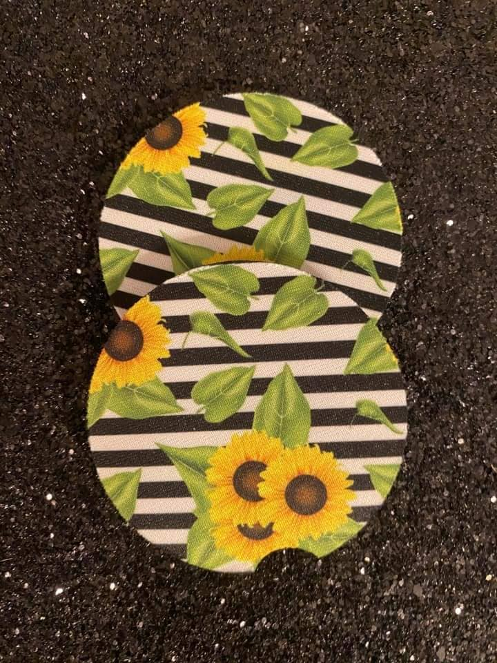 Sunflower striped Car Coasters