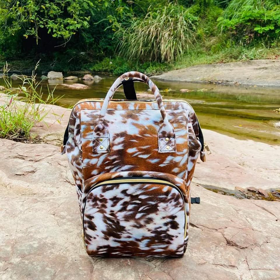 Brown Cow Print Diaper Bag