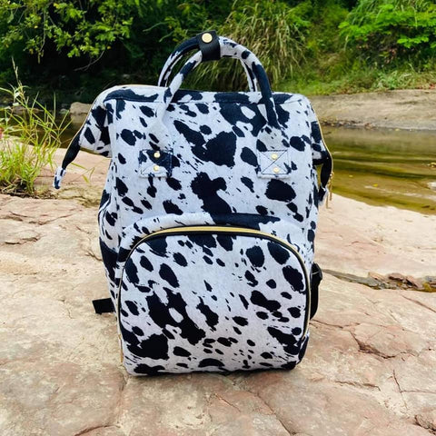 Black Cow Print Diaper Bag