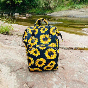 Sunflower Print Diaper Bag