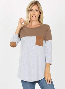 Mocha Leather Sleeve Raglan Shirt
