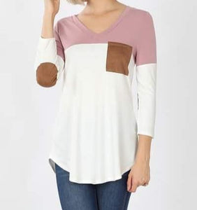 Mauve Leather Sleeve Raglan