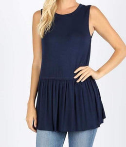 Navy Ruffle Bottom Tank