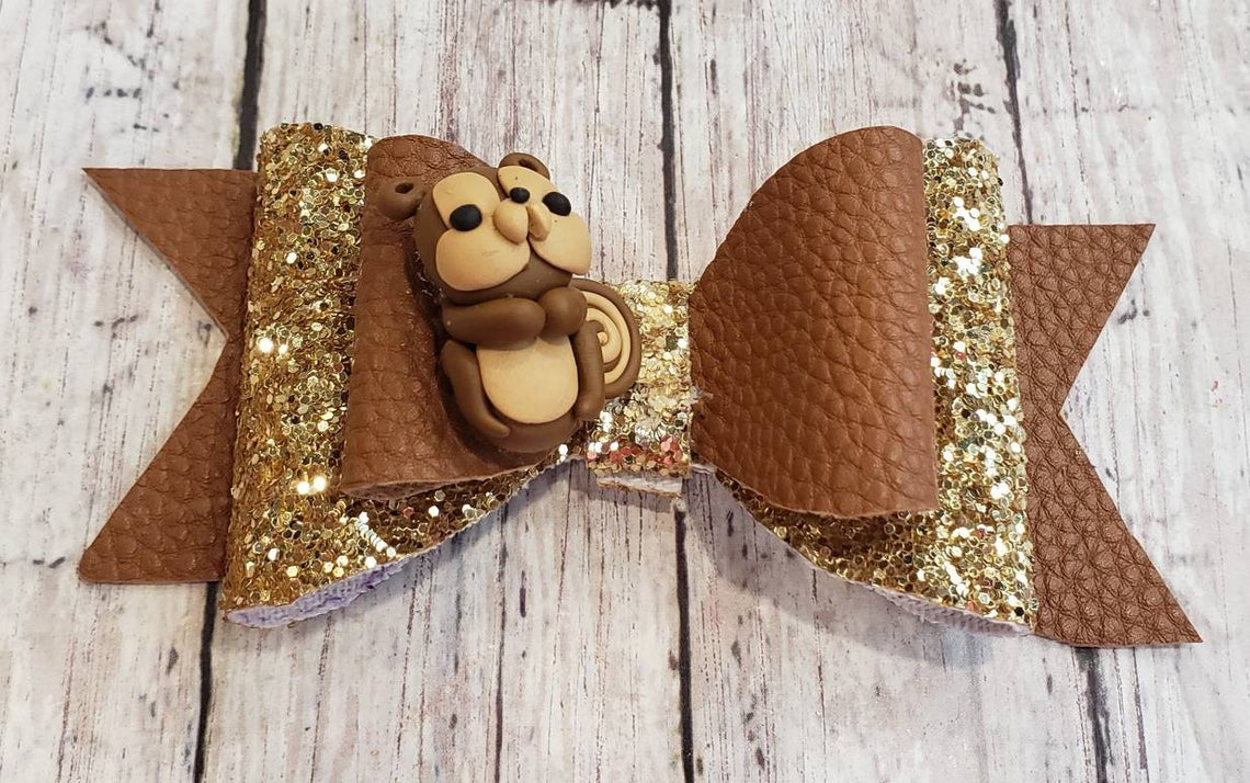 Squirrel Clay doll faux leather bow