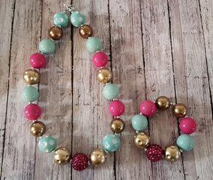 Aqua, Pink & Gold Chunky Bead Set