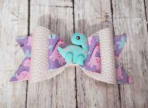 Dinosaur Clay doll faux leather bow