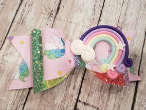 Unicorn Rainbow Clay doll faux leather bow