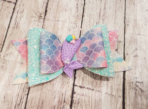 Mermaid Clay doll faux leather bow