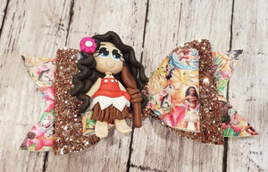 Singing princess  Girl Clay doll faux leather bow