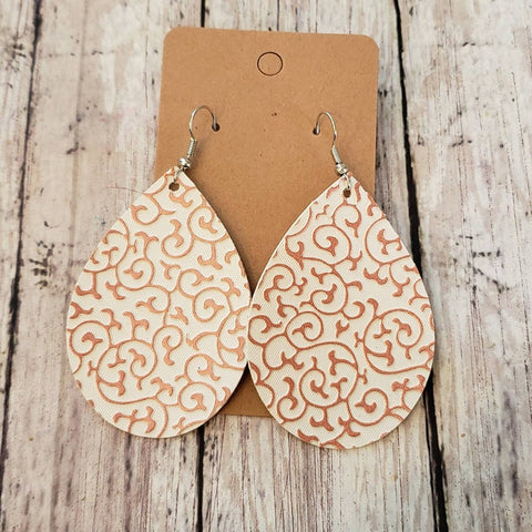 Rose Gold Scroll Earrings  Faux Leather