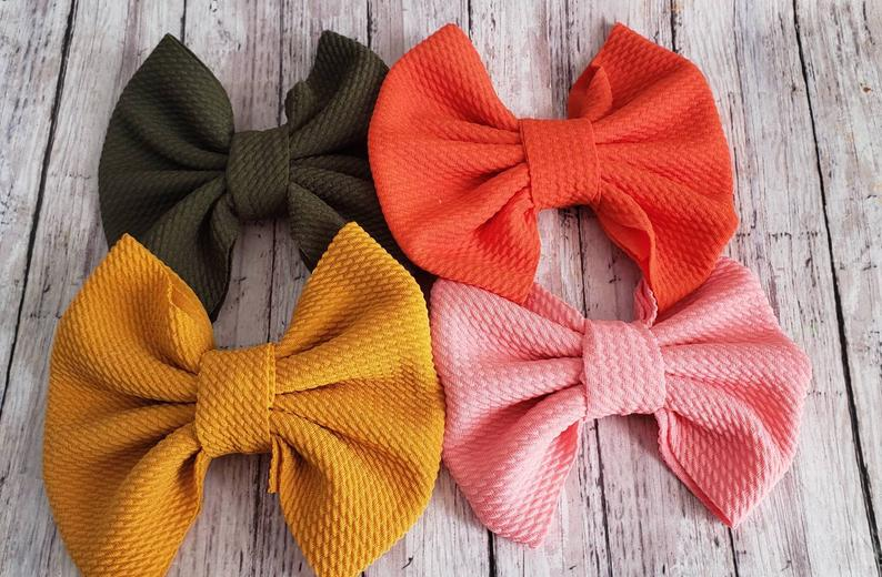 Solid Colors Bullet Fabric Bow