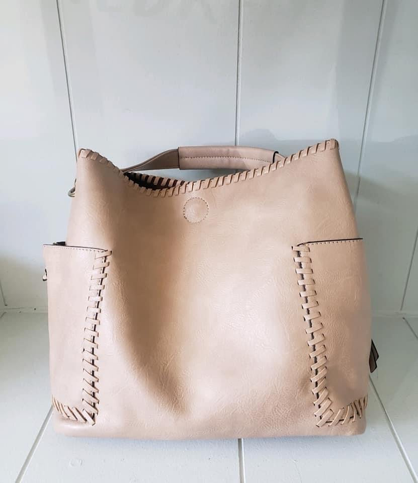 Beige Woven Bucket Double Purse