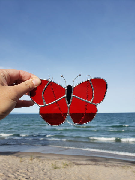 Red stained glass butterfly