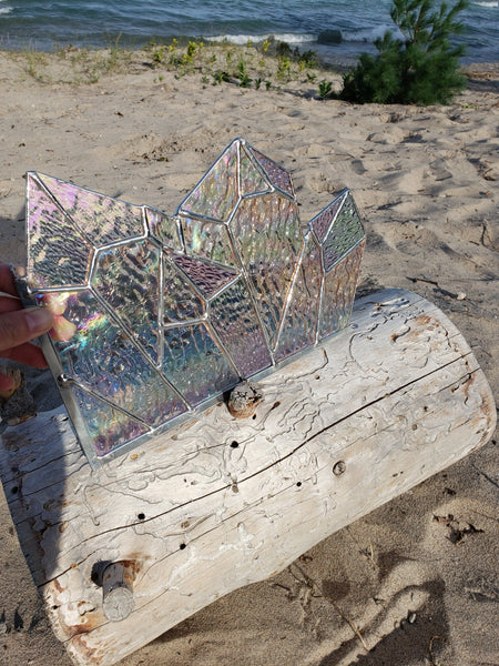 Crystal iridescent stained glass corner panel