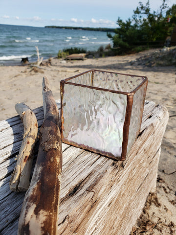 Iridescent clear textured candle holder