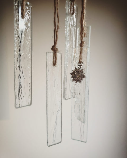Icicle Christmas ornament suncatcher, stained glass art