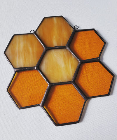 Honey comb stained glass suncatcher, cluster of seven hexagons