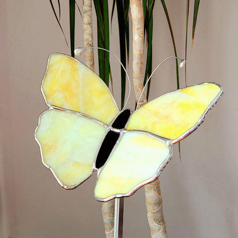 Butterfly garden stake, lemon yellow stained glass Butterfly landscape decoration