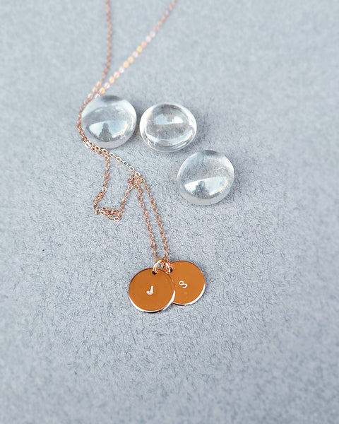 Custom initials disk charm necklace