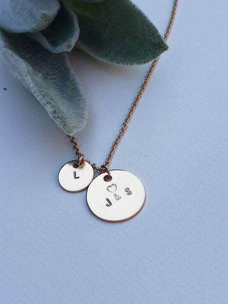 Initials custom necklace with larger and a smaller disk charm