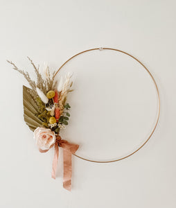 Preserved Palm and Rose wreath