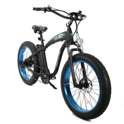 Ecotric Hammer Electric Fat Tire Beach Snow Bike-Blue