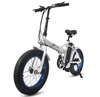 Ecotric Fat Tire Portable & Folding Electric Bike-White and Blue