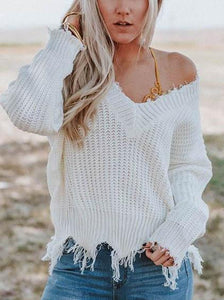 V-Neck Off-The-Shoulder Sweater