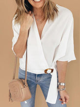 Load image into Gallery viewer, V-Neck Half Sleeve Tie Blouses