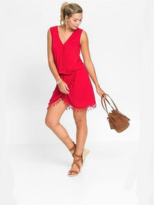 Tassel Stitching Wrap Mini Dress