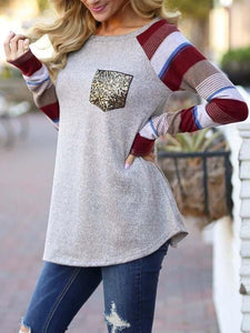 Strip Splicing Sequined Pocket T-Shirt