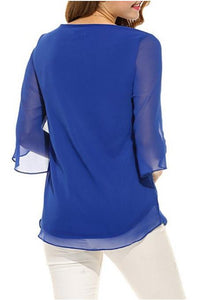 Splicing solid color round neck five-point sleeve chiffon shirt