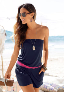 Solid Off Shoulder Drawstring Jumpsuit