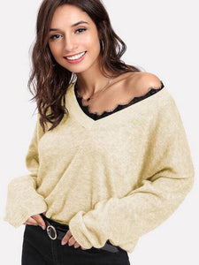V-Neck Lace Trim Long Sleeve Sweater
