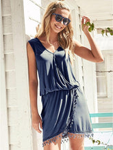 Load image into Gallery viewer, Tassel Stitching Wrap Mini Dress