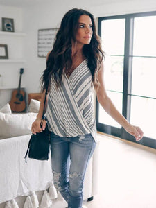 Striped Stitching Halter Tank