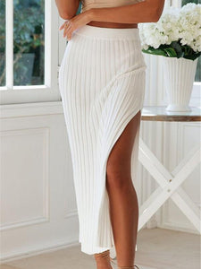 Side Split Ribbed Midi Skirt