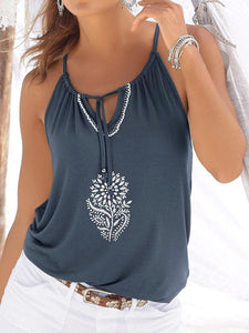 V-neck Printed Ties Tanks