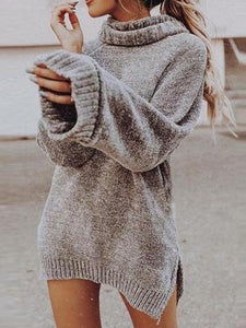 Stand Collar Long Pattern Sweater Dress