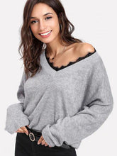 Load image into Gallery viewer, V-Neck Lace Trim Long Sleeve Sweater