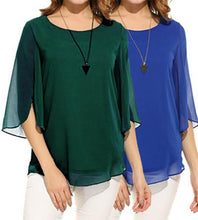 Load image into Gallery viewer, Splicing solid color round neck five-point sleeve chiffon shirt