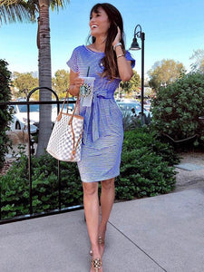 Striped Waist Pocket Dress