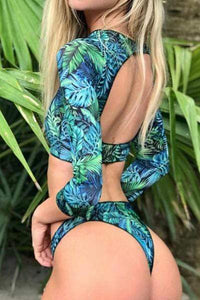 Split Leaf Print Surf Swimsuit