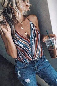 Strap Striped Camis Tops