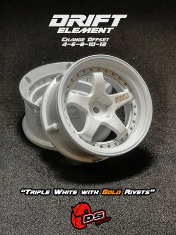 DS Racing DE-004 Wheels Triple White Gold Rivets