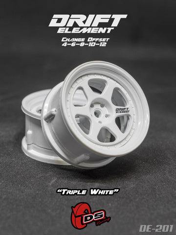 DS Racing DE-201 Wheels Drift Element II (Tri White)