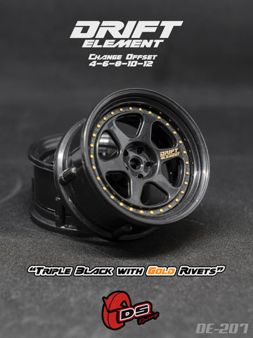 DS Racing DE-207 Wheels Drift Element II (Tri Black/Gold Rivets)