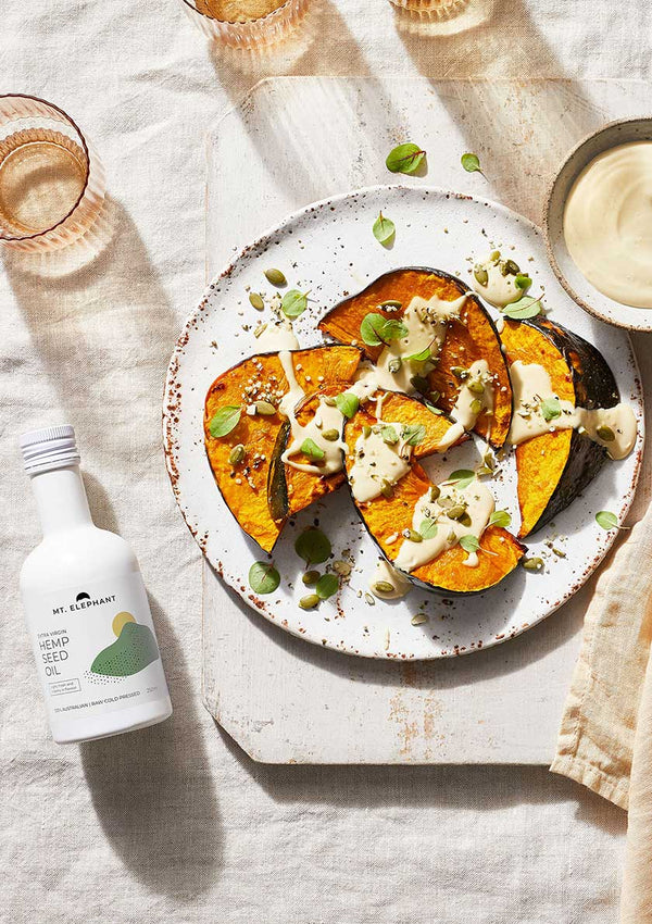 Roasted Pumpkin With Tahini Dressing