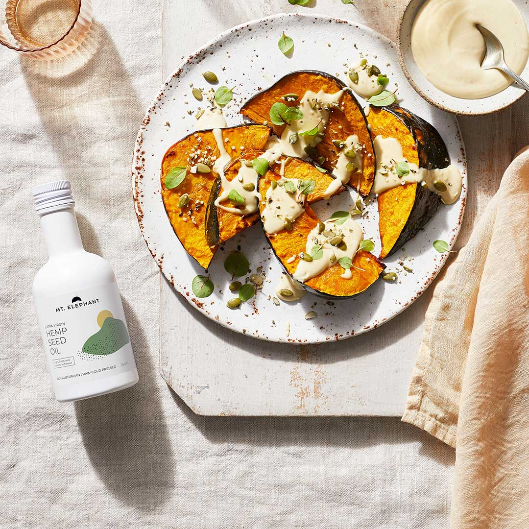 Pumpkin with Tahini and Extra Virgn Hemp Oil