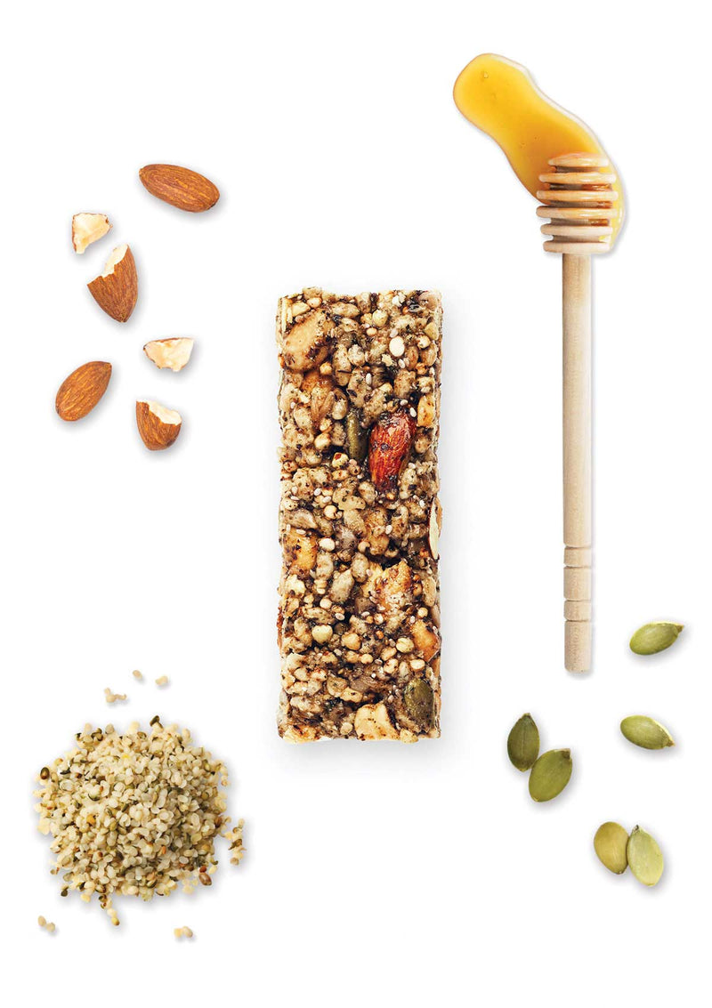 a delicious blend of nuts, hemp seeds, pepitas, chia and decadent honey